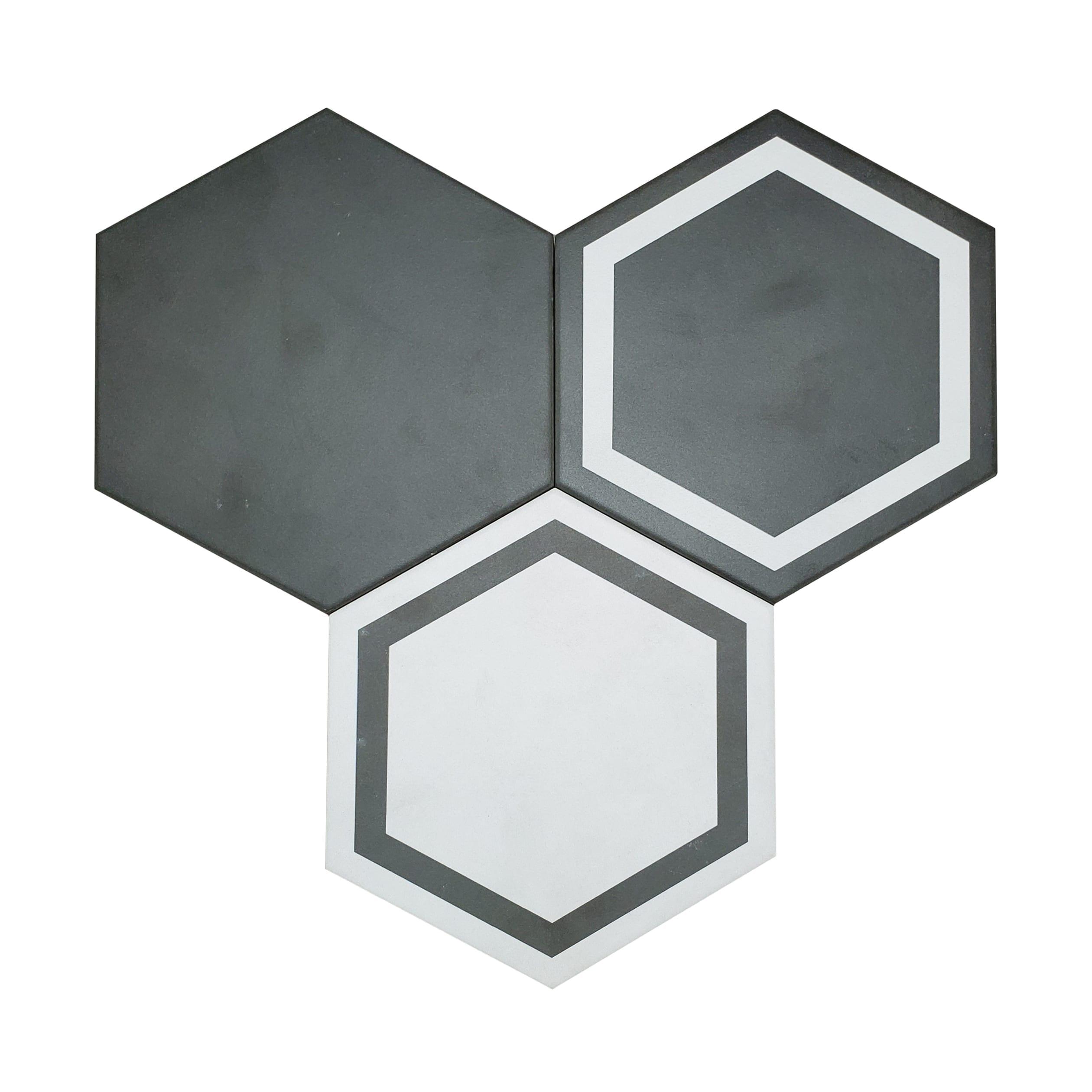 7×8 Form Hexagon Wall or Floor_GraphiteMixAlternate-3.89