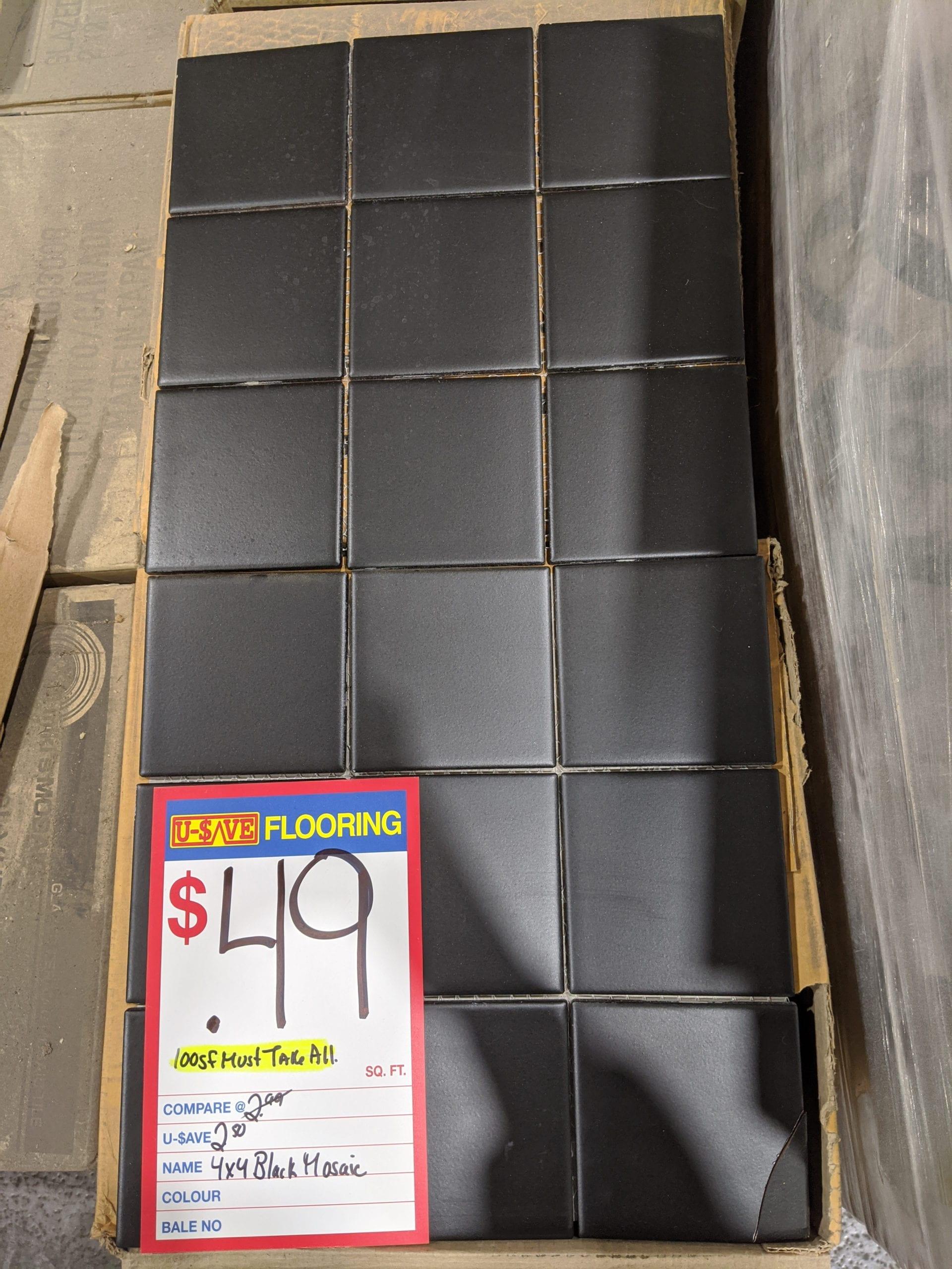 MustBuyAll 100sf 4×4 Black Mosaic Tile_0.49