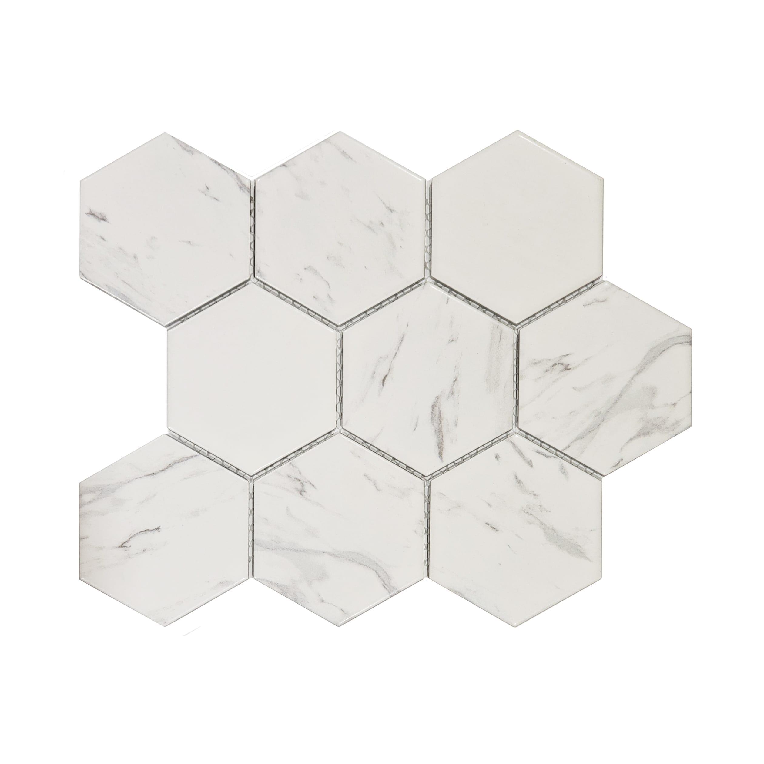4in Hexagon Mosaic Porcelain_Carrara_7.99