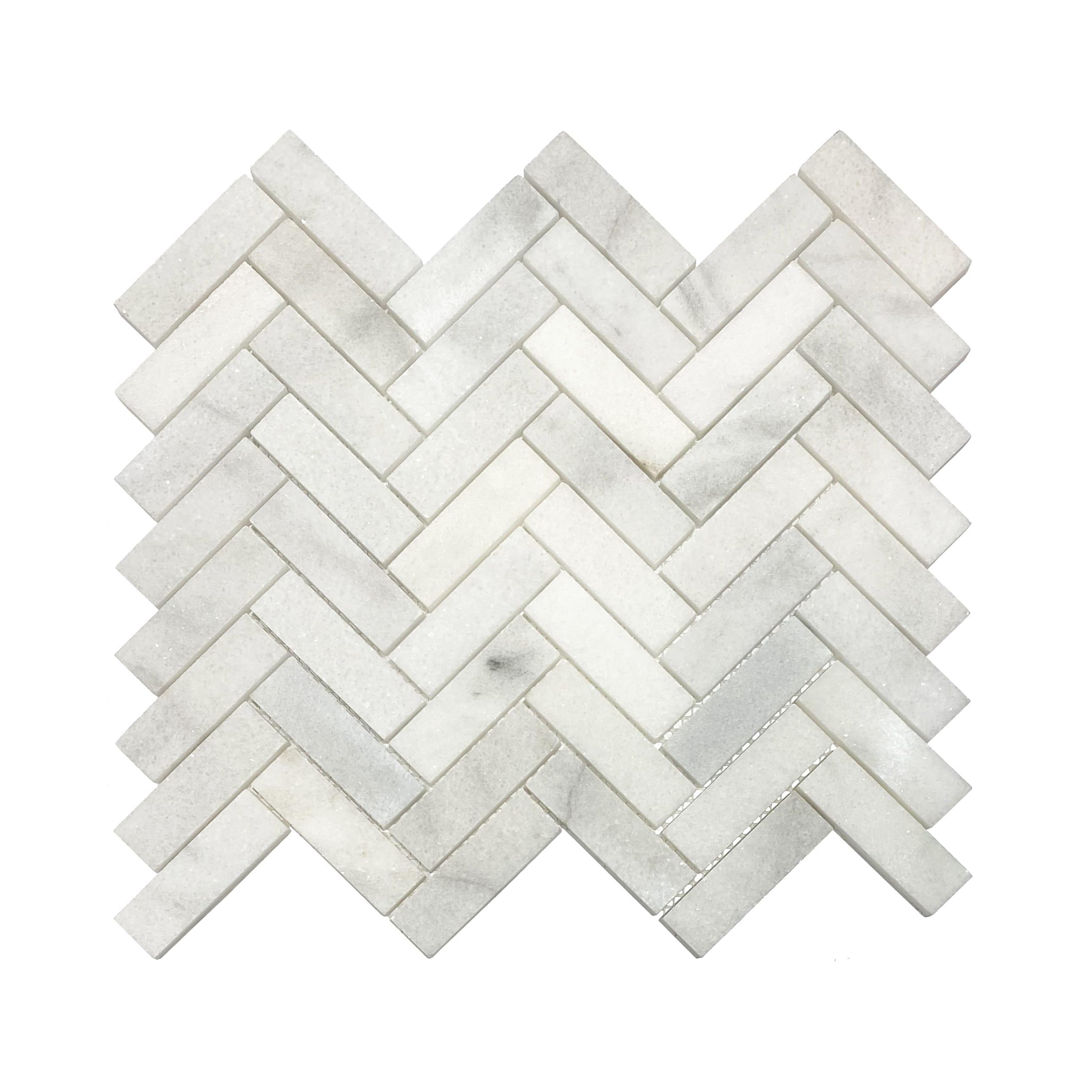 1×3 Herringbone Mosaic Tile_Bianco Marble_8.99ea